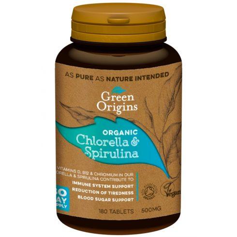 Green Origins bio chlorella és spirulina tabletta 180 db