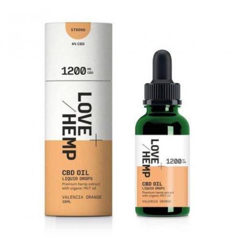 Love Hemp CBD olaj 1200 mg cseppek 30 ml, narancs ízesítéssel