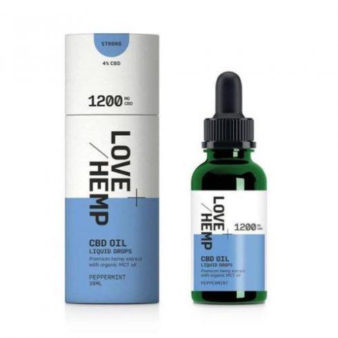 Love Hemp CBD olaj 1200 mg cseppek 30 ml, borsmenta ízesítéssel